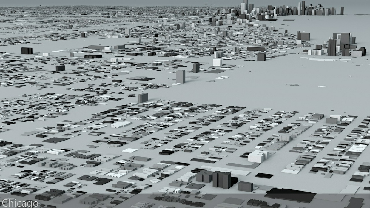 Chicago Streets and Buildings Architectural 3D Model