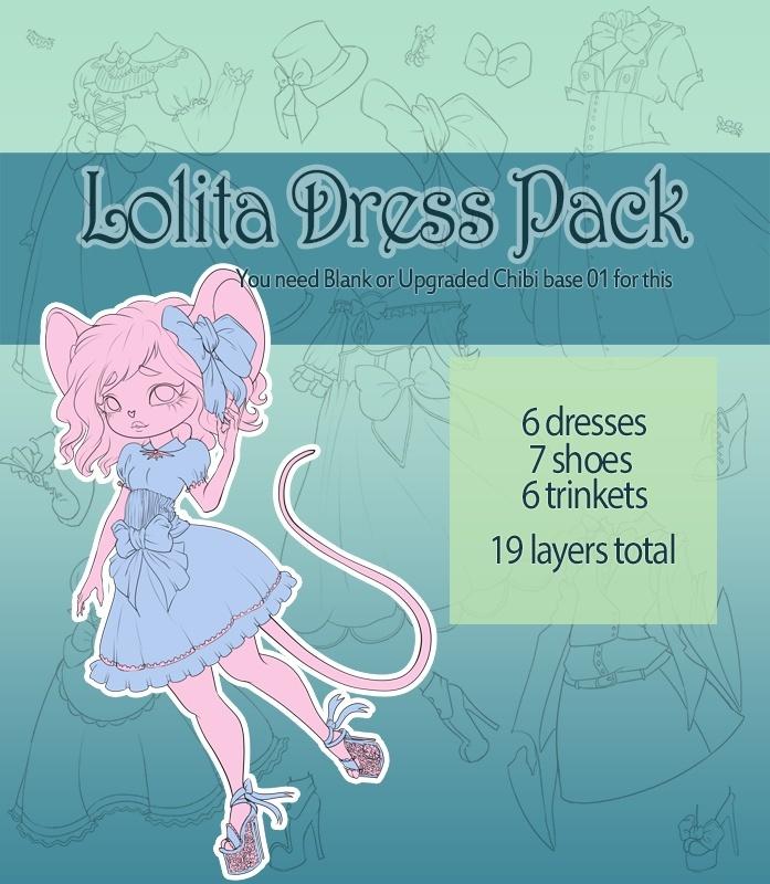 [P2U] Lolita dress Pack 01 for Chibi Furry Base 01