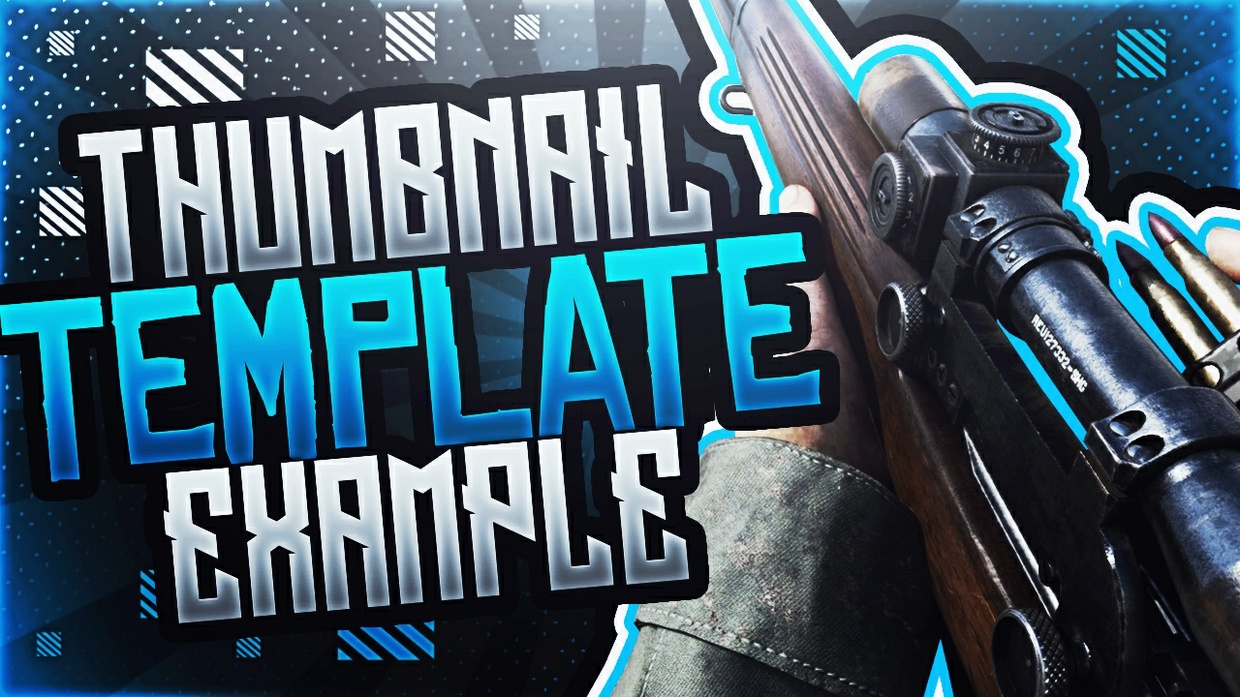 Ultimate Call of Duty World War 2 - Sniper Rilfe - Photoshop Thumbnail Template Pack