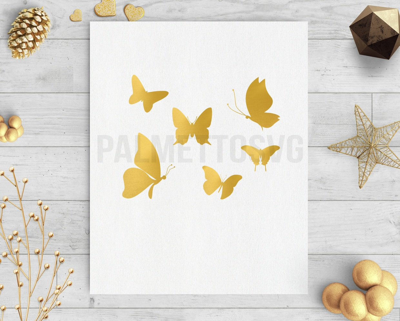Gold foil butterfly clip art svg dxf silhouette cameo cricut downloads