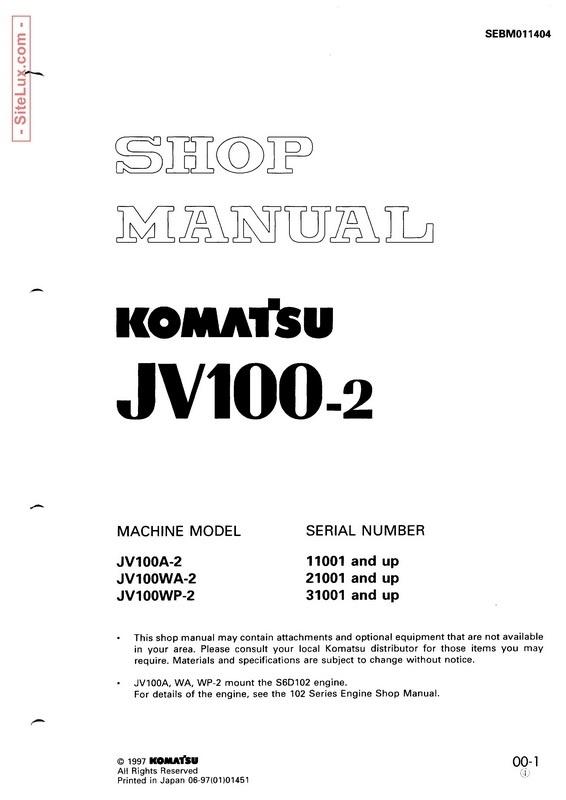 Komatsu JV100-2 Vibratory Smooth Drum Roller Shop Manual - SEBM011404