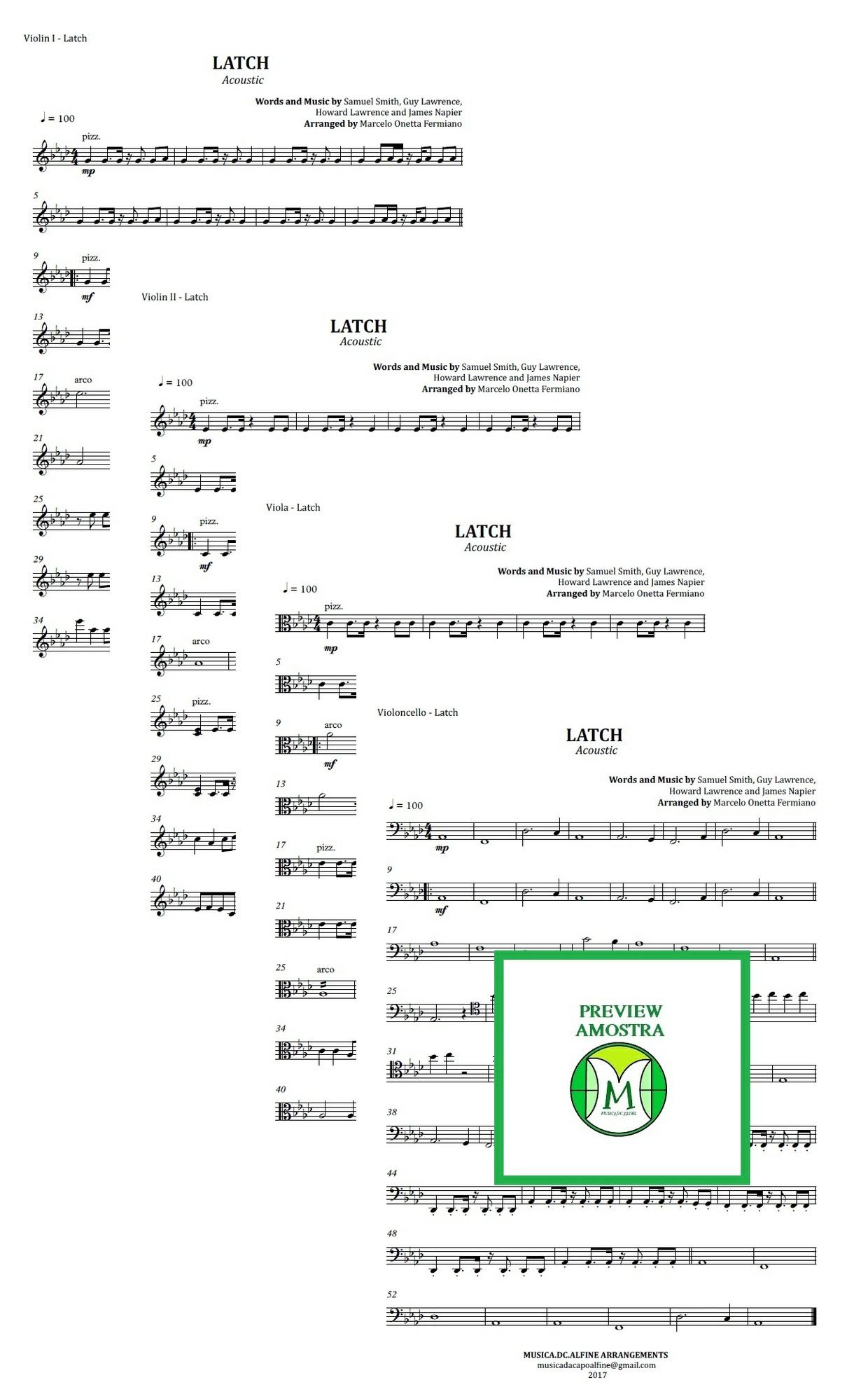 Latch | Acoustic | Sam Smith | Quarteto de Cordas | Partitura Completa