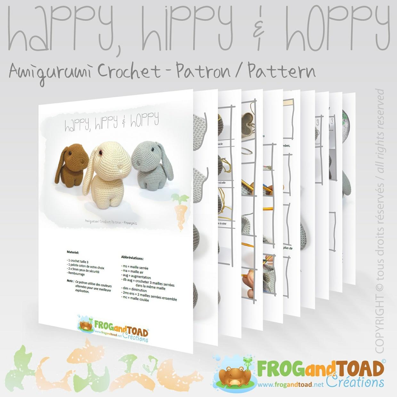 Lapin / Rabbit - Amigurumi Crochet - PDF Patron / Pattern  - FROGandTOAD Créations ©