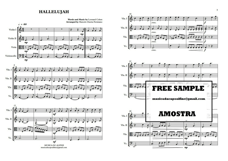 Hallelujah | Leonard Cohen | Quarteto de Cordas | Partitura Completa Download