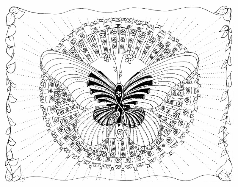 Musical Butterfly Coloring Page