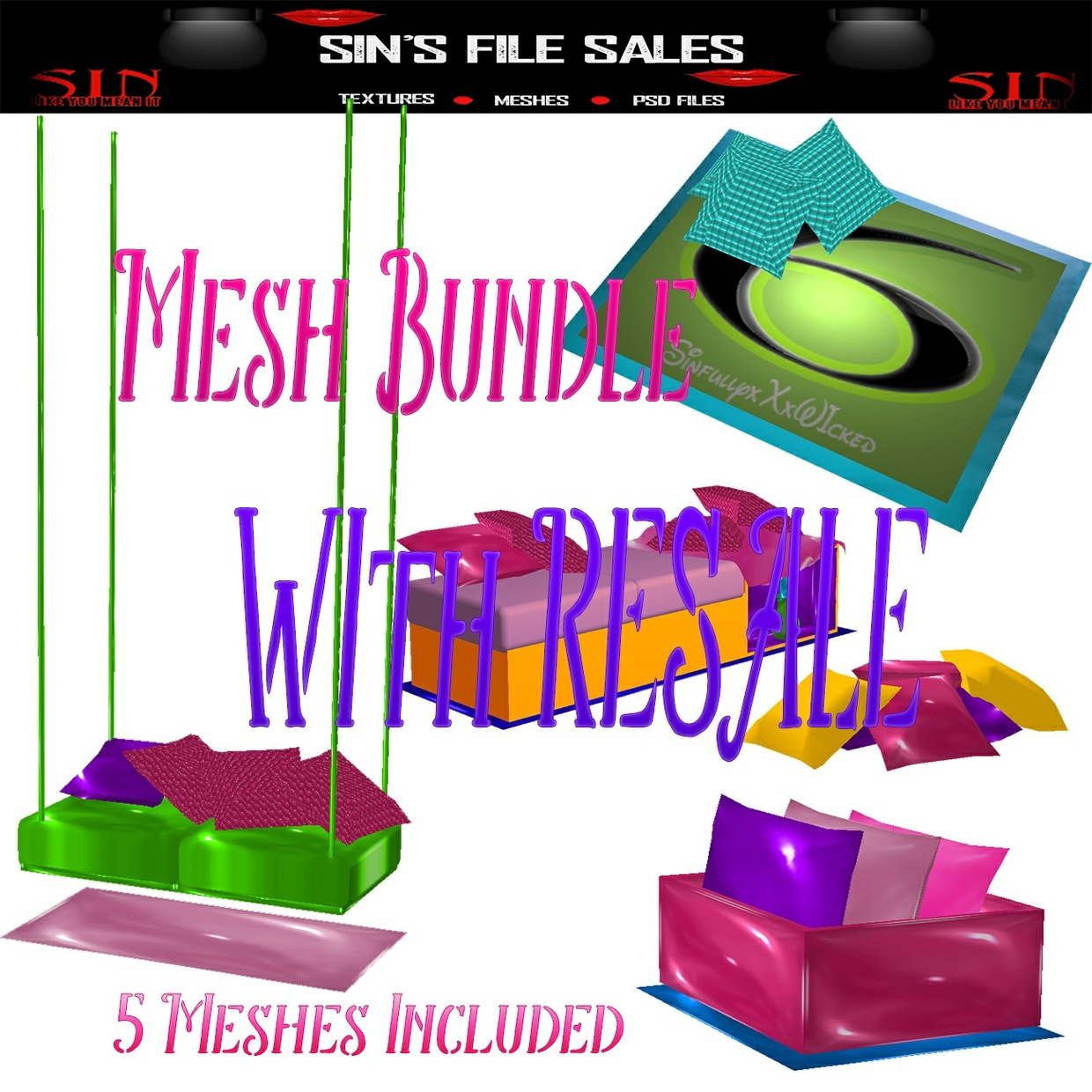 Mesh Bundle * 5 Meshes WITH RESALE Rights