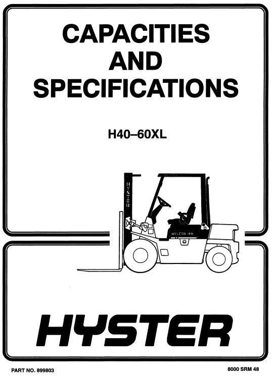Hyster Truck Type B177, C177: H2.00XL (H40XL), H2.50XL (H50XL), H3.00 (H60XL) Workshop Manual