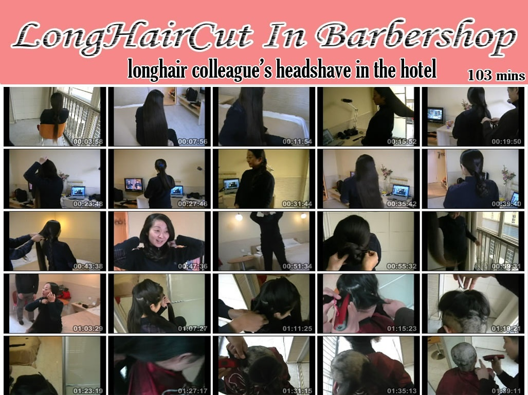 longhair colleague's headshave in the hotel