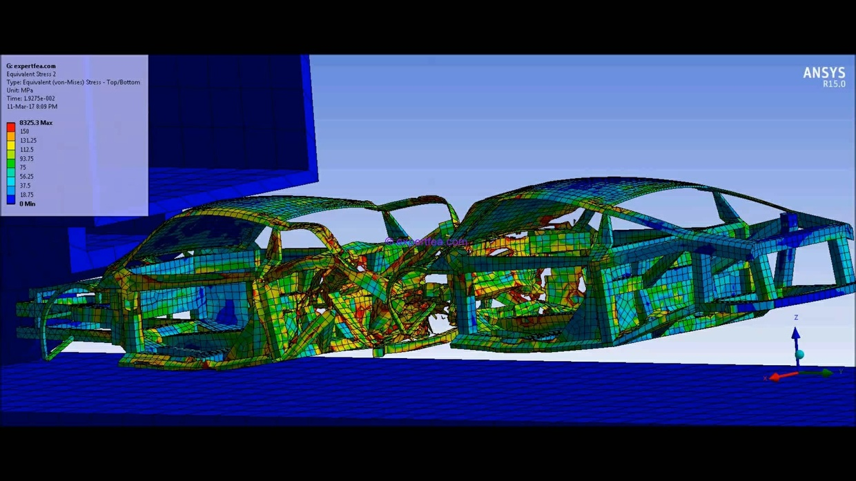ANSYS WB MECHDAT files and 3D model for cars and truck crash