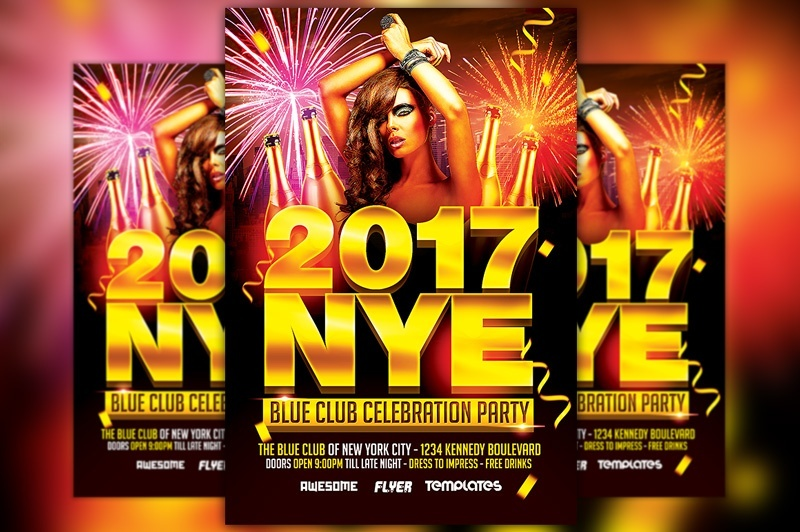 New Years Eve Party Celebration Flyer Template