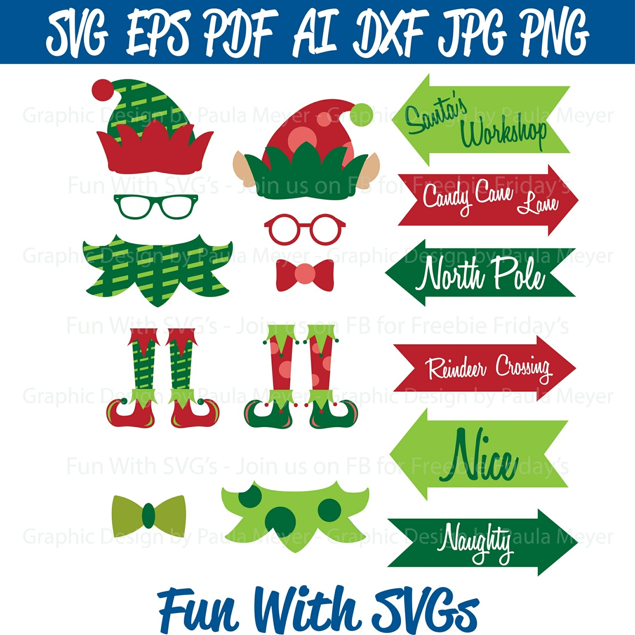Elf Yourself - Photo Booth Props - SVG Cut File, High Res Printable Graphics and Editable Vector Art