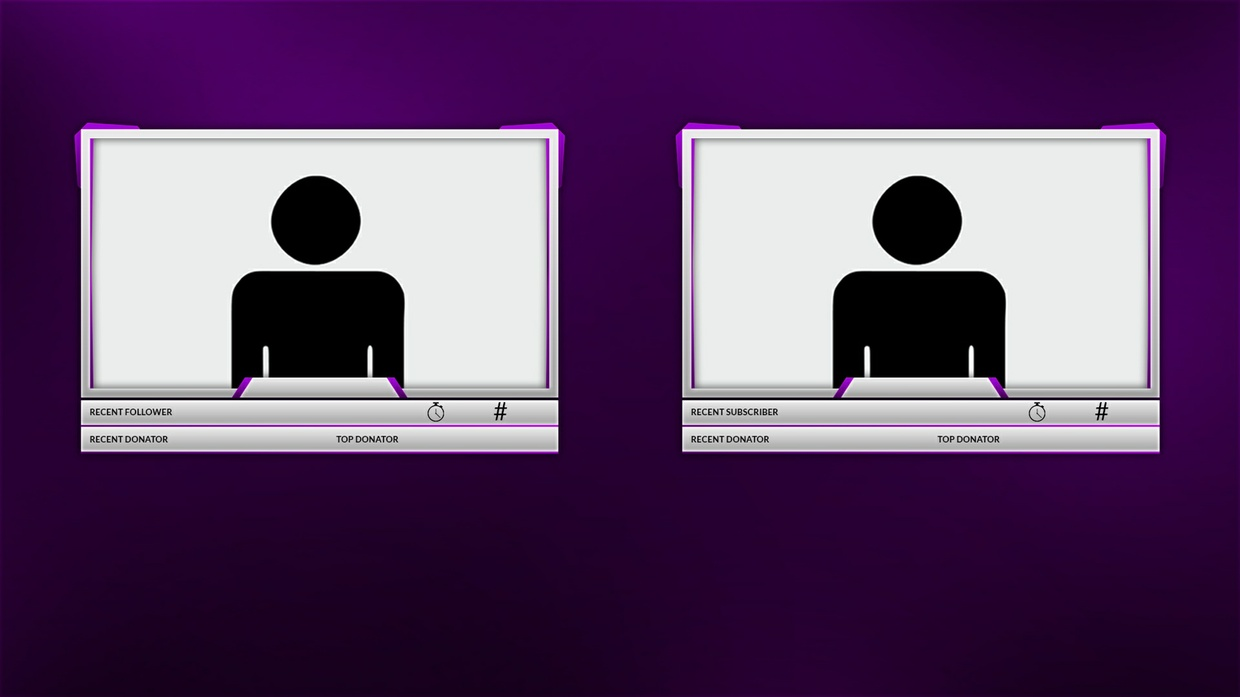 Silver and Purple Twitch Camera Overlay Template
