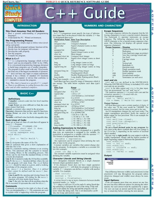 C++ Programming Quick Guide and Cheat Sheet