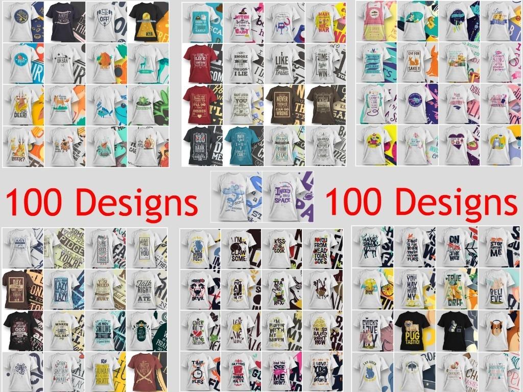 100 Unique Editable T-Shirt Designs