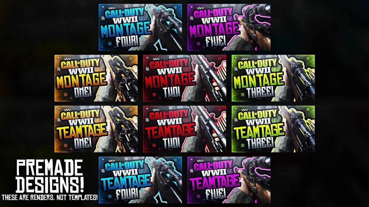Premade Call of Duty: WWII Sniping Teamtage/Montage YouTube Thumbnail Designs