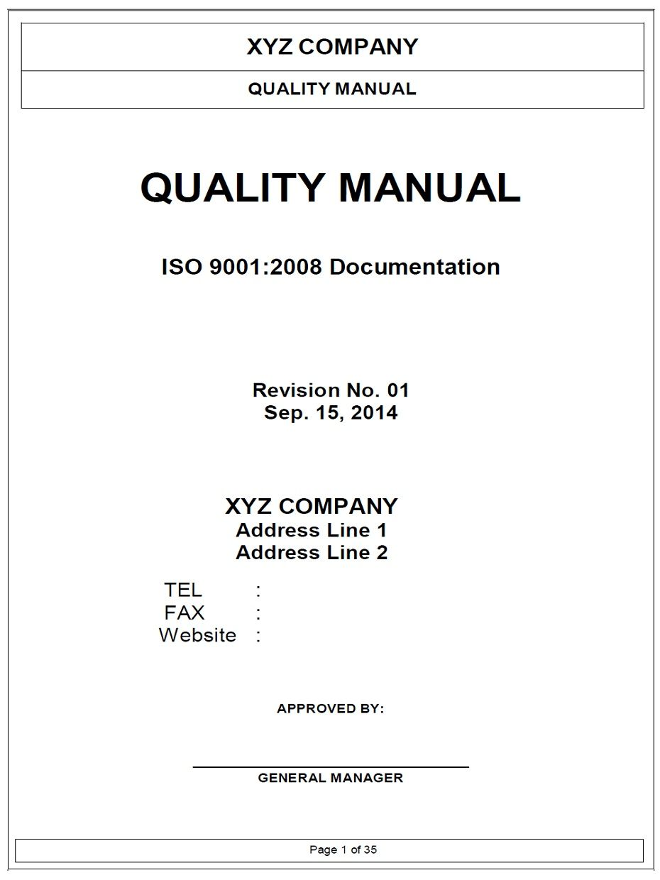 Great ISO9001 Quality Manual Template Regard To Manual Format Template