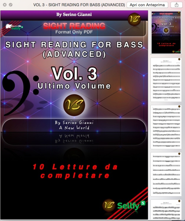VOL 3 - SIGHT READING FOR BASS (ADVANCED) - ONLY PDF FORMAT