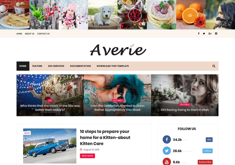 Averie Minimal Blogger Template Premium Version