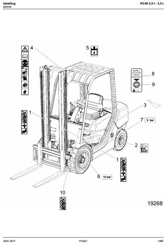 Still Forklift Truck RC40-25, RC40-30, RC40-35: 4051, 4052, 4053, 4054, 4055, 4056 Parts Manual