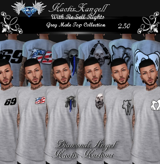 Grey Male Top Collection w/Re Sell Rights