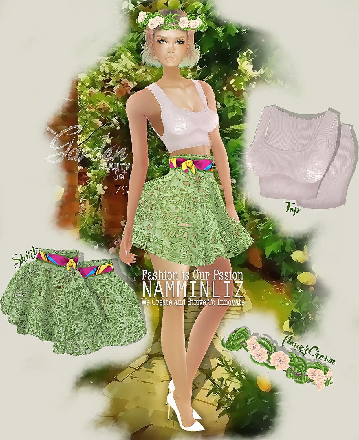 Garden Beauty Set 1 imvu PNG textures Top + Skirt + Flower Crown