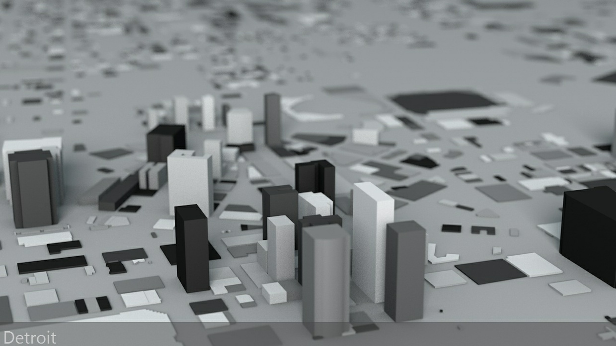 Detroit Streets and Buildings Architectural 3D Model