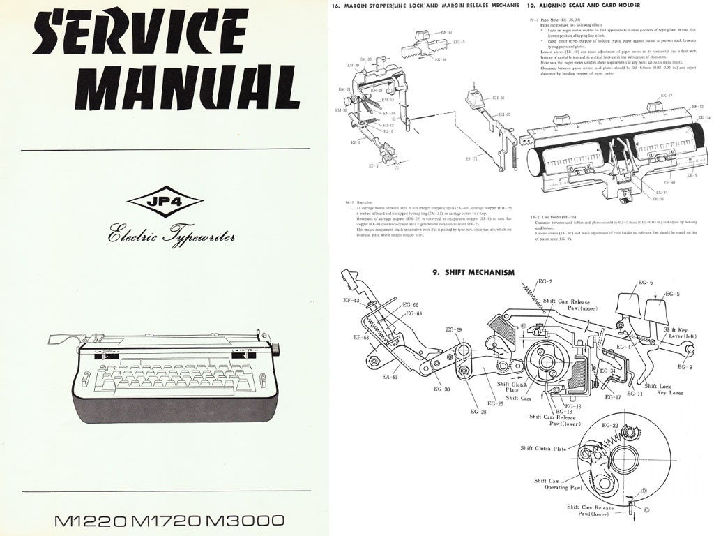 Brother JP-4 Electric Portable Typewriter Repair Adjustment Service Manual