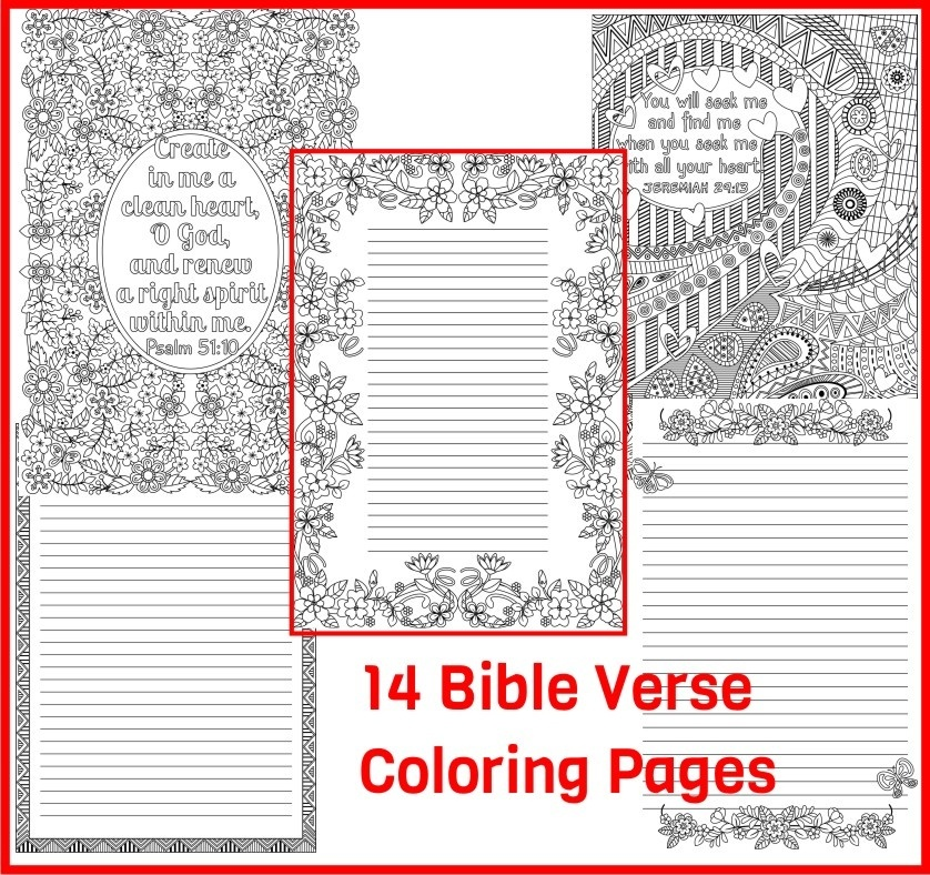 14 Bible Verse Coloring Pages Plus 3 Coloring Journal