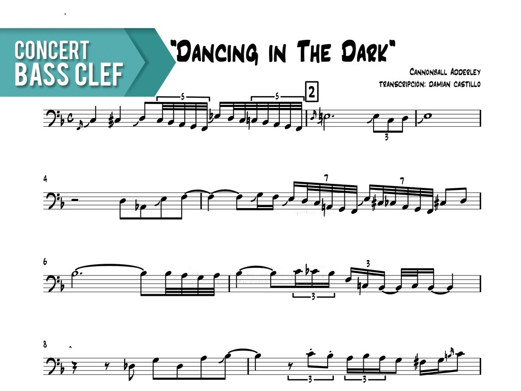 """Cannonball Adderley - """"Dancing In The Dark"""" - Concert Bass Clef"""