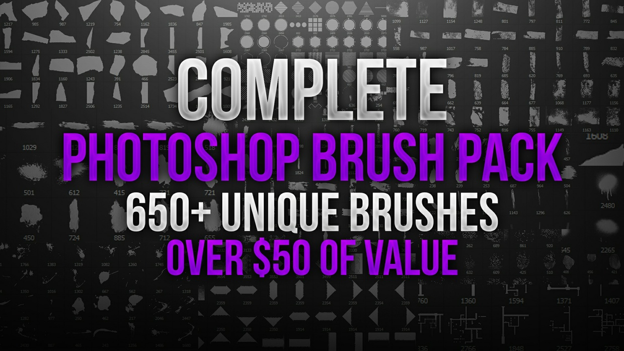 Complete Stock Photoshop Brush Pack Set | Over 650 Unique Brushes