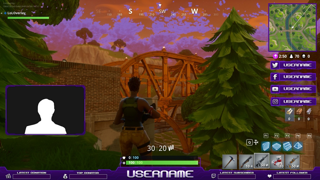 FORTNITE OVERLAY PURPLE [10 PNG + 1 PSD]
