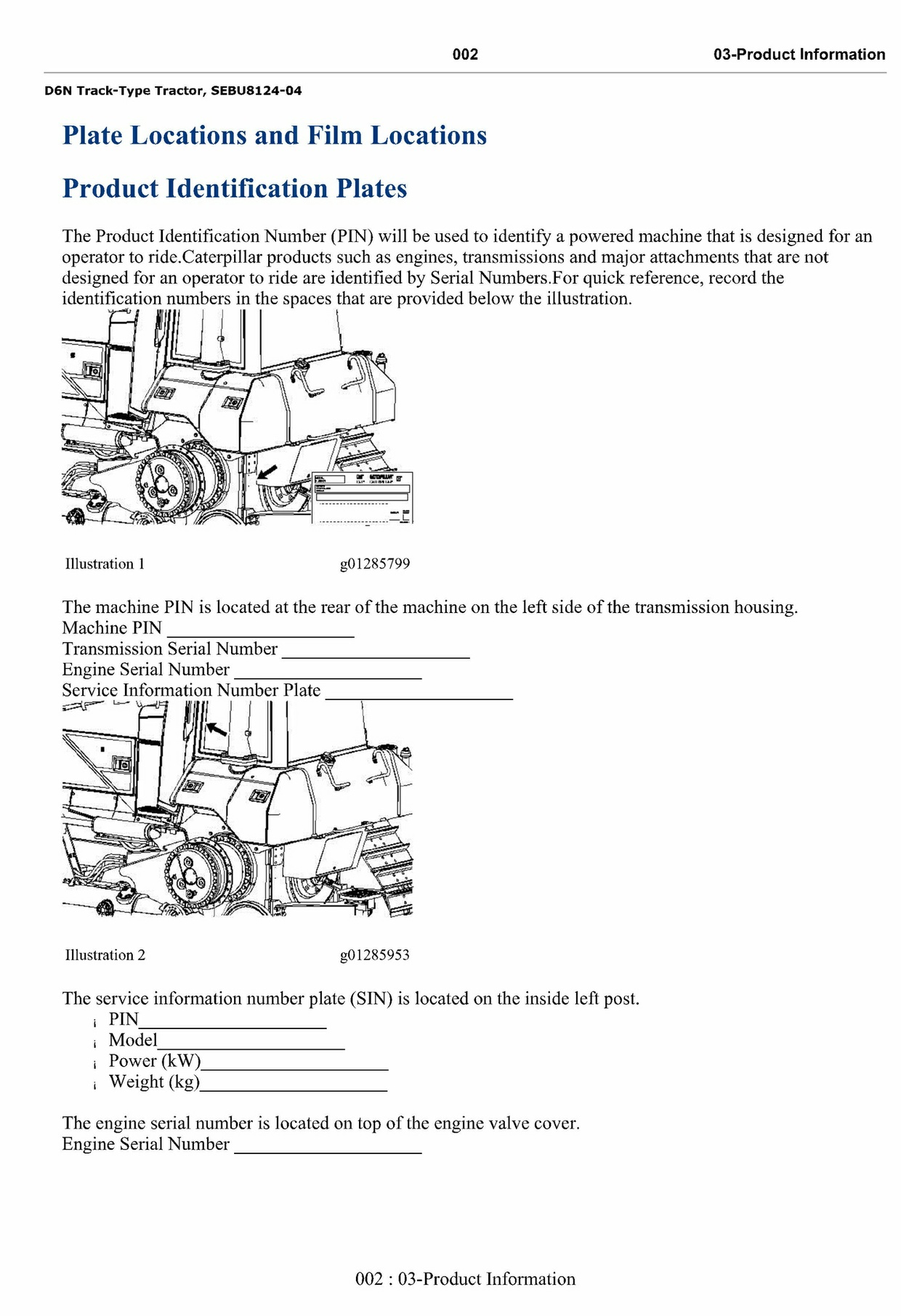 Cat Caterpillar D6N Track-Type Tractor - Operation & Maintenance Manual