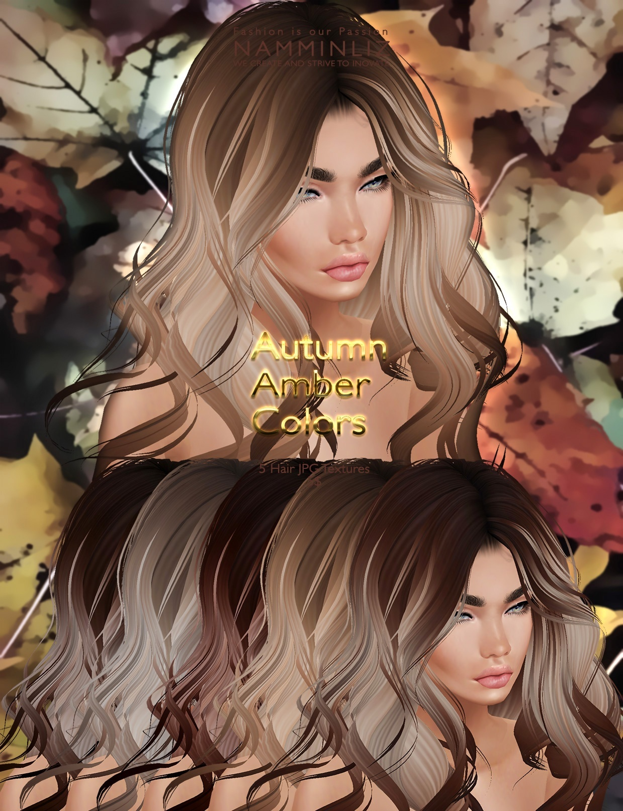Autumn Amber colors 5 Hair JPG Textures imvu NAMMINLIZ