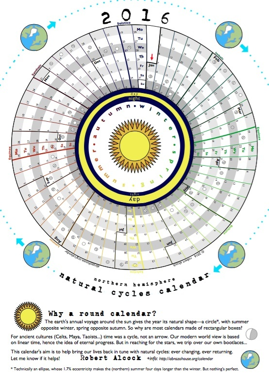 2016 Circular Calendar celebrating natural cycles