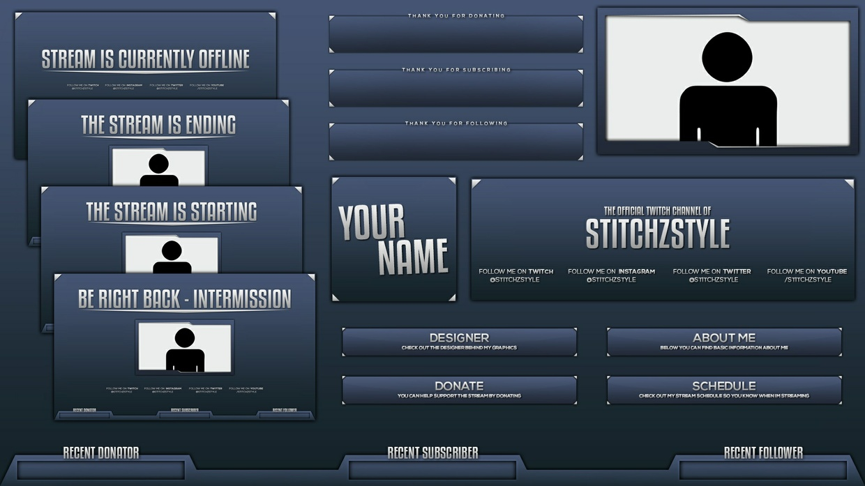 Professional Blue and Silver Twitch Rebrand Template Pack