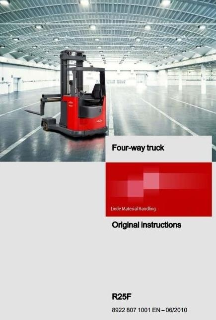Linde / Atlet Electric Reach Truck Type 8922-R25F Operating Instructions (User Manual)