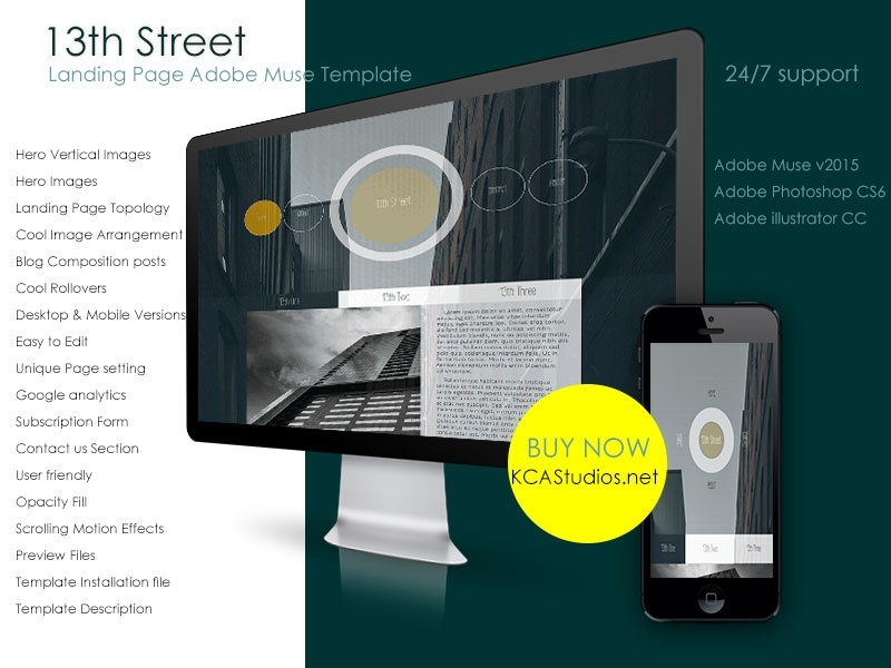 13th street landing page adobe muse template kcastu for Adobe muse mobile templates