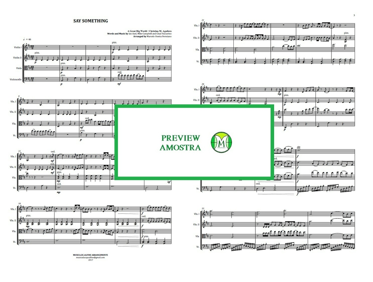 Say Something | A Great Big World | String Quartet | Score and Parts