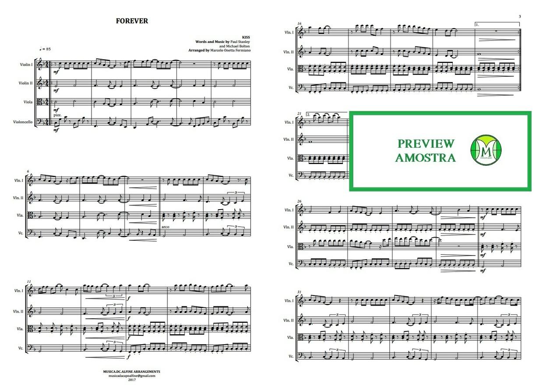 Forever | Kiss | Quarteto de Cordas | Partitura Completa | Download