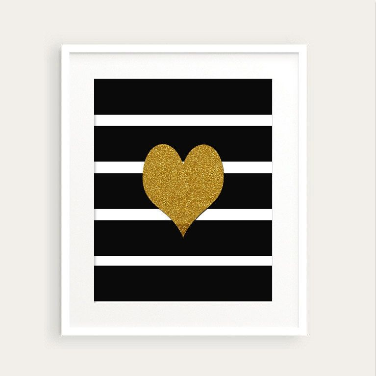 Gold Heart and Bold Stripes Art Print 0104 printable Graphic  Wall Art pdf