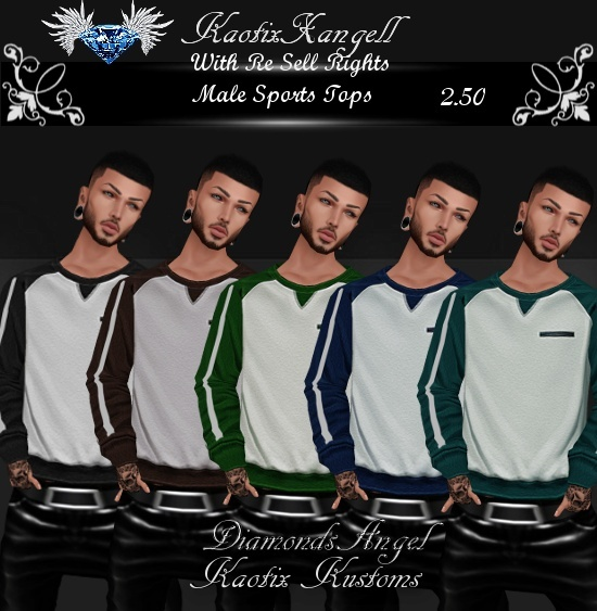 Male Sports Tops w/Re Sell Rights