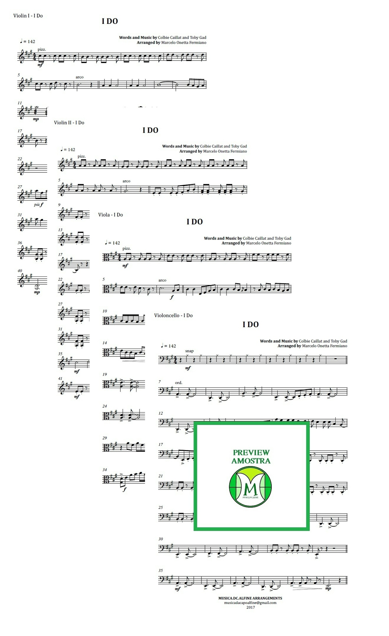 I Do | Colbie Caillat | String Quartet | Score and Parts | Download