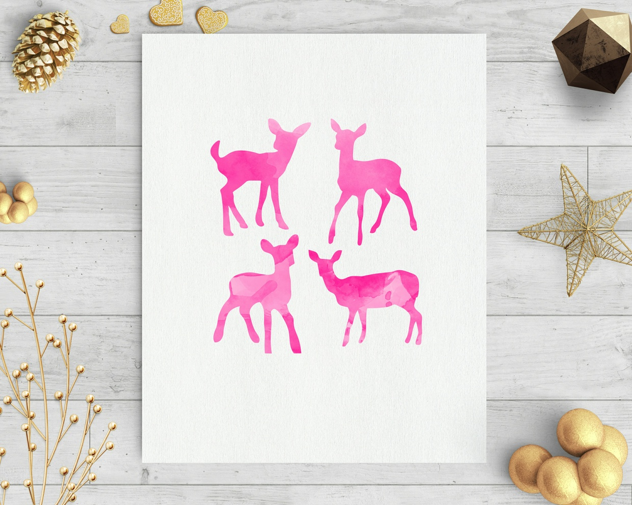 baby deer pink watercolor clip art svg dxf cut file silhouette cameo cricut download