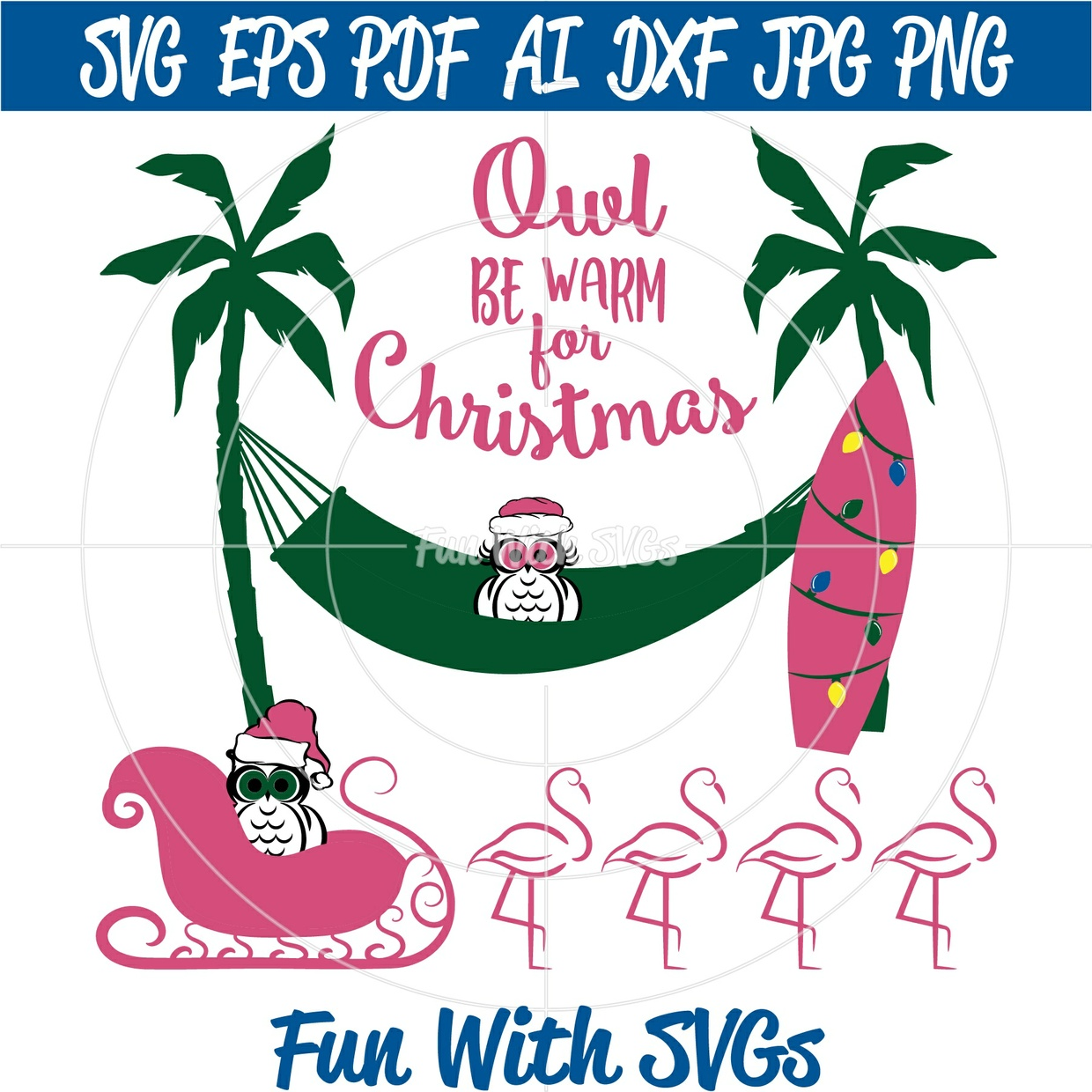 Owl Be Warm For Christmas, Pink Flamingo's, Owls, Santa Owl, Christmas in July
