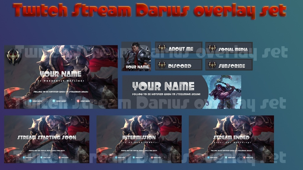 Twitch Stream Darius overlay set