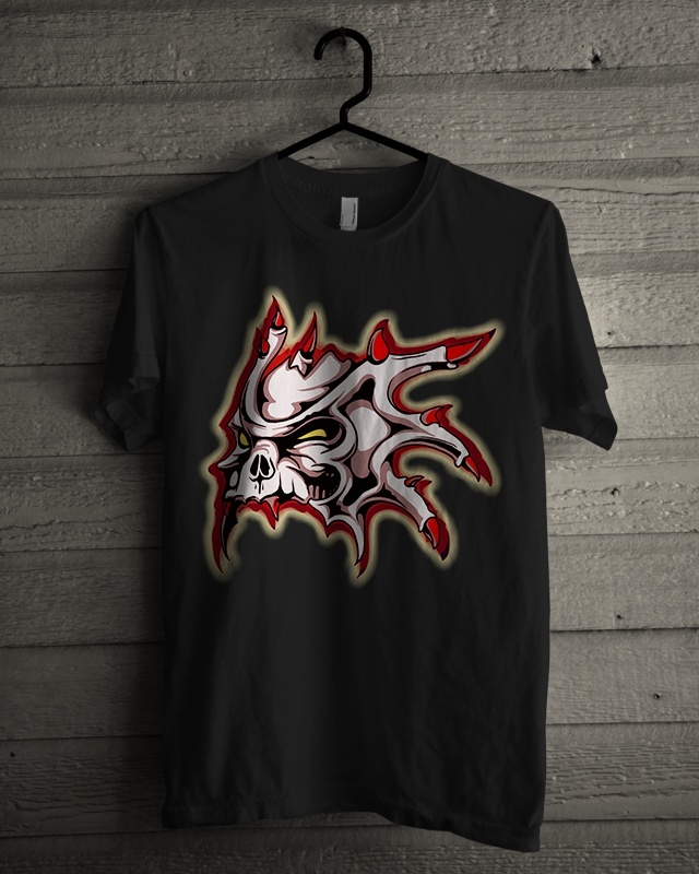 Tshirt Design - Horned Skull In Red And White