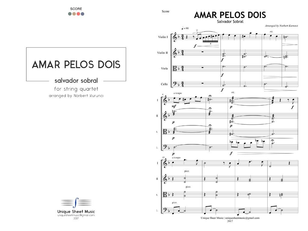 Salvador Sobral - Amar Pelos Dois - Arranged for String Quartet