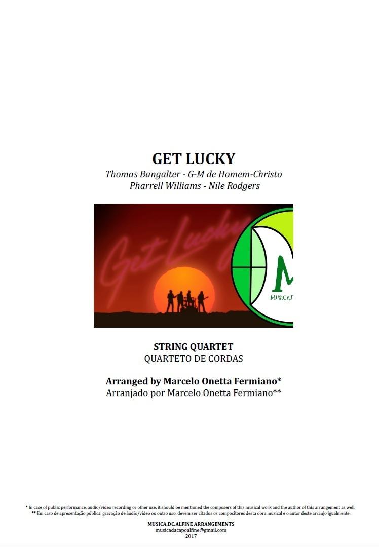 Get Lucky | Daft Punk | Quarteto de Cordas | Grade e Partes | Partitura Completa
