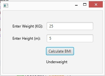 JavaFX | Body Mass Index Calculator App in JavaFX with full source code