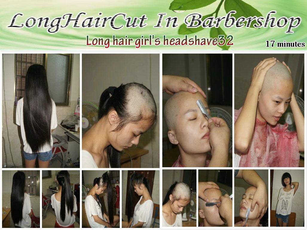 Long hair girl's headshave32